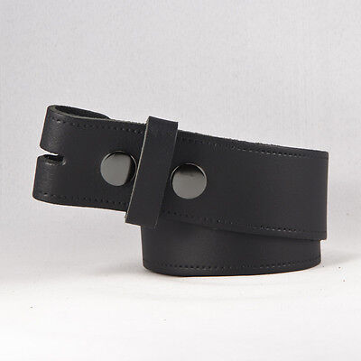 """New Mens Leather Snap On Belt No Buckle In Black / Brown Sizes 32"""" - 48"""""""