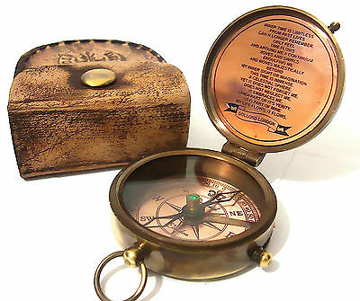 Solid Brass Pocket Compass Victorian Compass 1875- With  Leather Case
