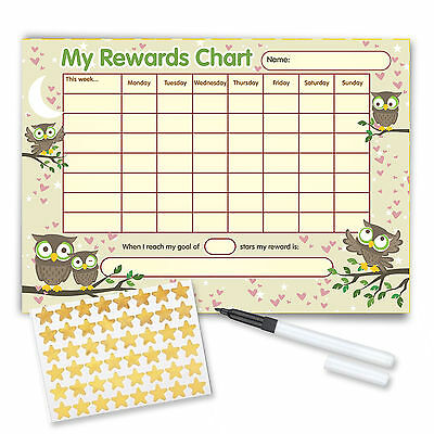 Re-usable Reward Chart (including FREE Stickers and Pen) - Owl Design