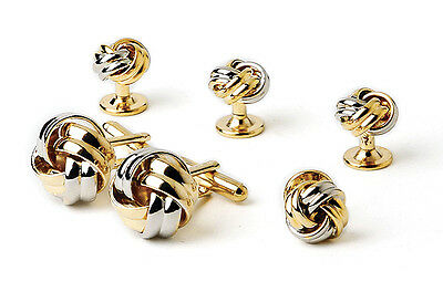 NEW Mens Silver & Gold Love Knots Cuff Links & Studs Two Tone Formal Box Set