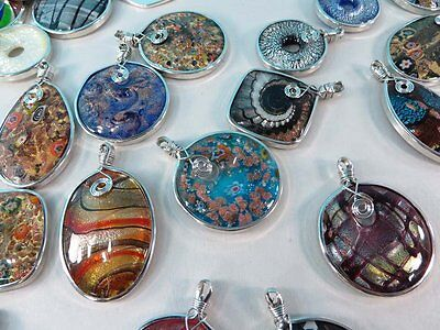 *US Seller*wholesale lot of 5 lampwork glass pendants scarf jewelry necklace