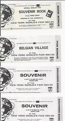 Lot Of 8 1964-1965 New York Worlds Fair Coupons