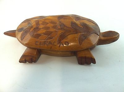 Vintage Hand Carved Wooden Turtle Covered Dish CURACO