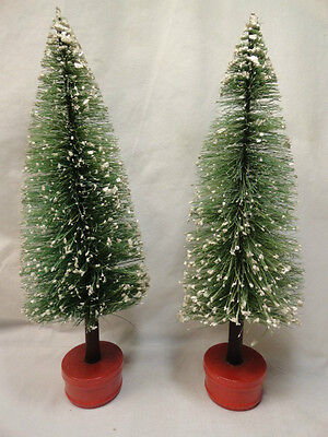 """2 Old Bottle Brush Trees Mica Branches 10 1/2"""" Tall Wood Base Japan or Germany"""