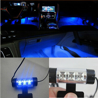 12V 4x3LED Car Charge 4 in1 Atmosphere Light Lamp Blue Car Interior Decorative