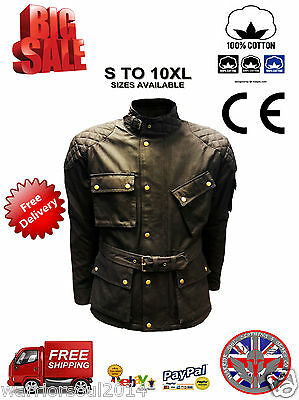 New Mens Black COTTON WAXED Motorcycle Breathable, WP Lined, ARMOUR BIKER JACKET