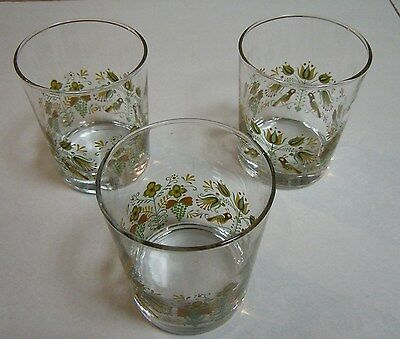 Set of Three Vintage Glasses with European Bird/Flower Motif - from 1970s - NEW