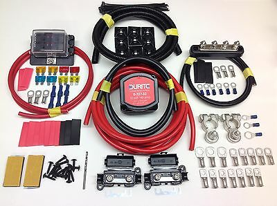 5mtr Pro Split Charge System 12v 140a Durite Voltage Sense Relay + 110amp Cable