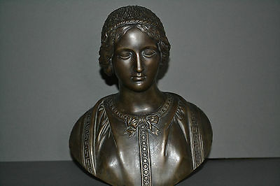 Fine antique mid 19th century bronze bust of a Victorian lady,great detail,c1860