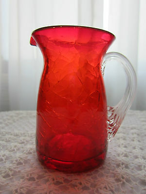 """Vintage CRACKLE GLASS Small Pitcher CREAMER Red with Clear Handle 3 3/4"""" tall"""