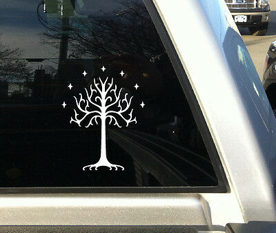 Tree of Gondor Lord of the Rings Sticker Window Decal 7 Inches White