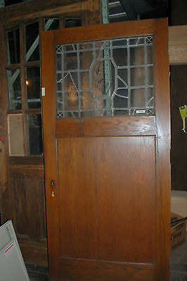 Antique Oak Arts & Crafts Door  Leaded And Stained Glass Architectural Salvage