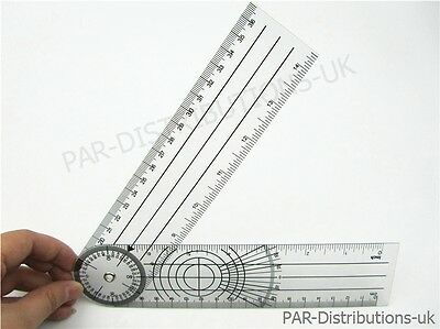 "Goniometer Angle Ruler Rule Joint Bend Measure Plastic PVC  8""  200mm UK"