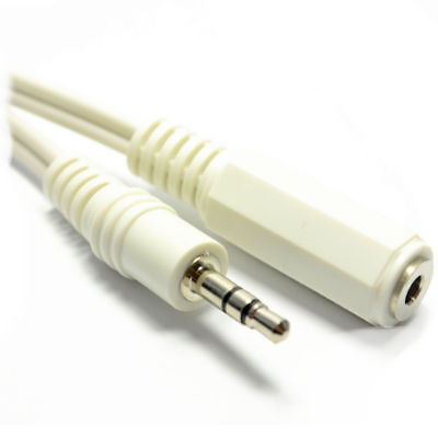 2m WHITE 3.5mm Stereo Jack Socket to 3.5mm Plug Extension Cable GOLD [007575]