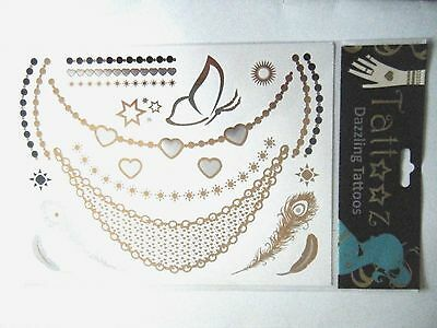 Metallic Temporary Tattoos Gold Silver Feathers Hearts Butterfly Stars 2 Sheets