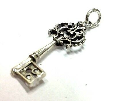 """.925 STERLING SILVER Detailed 1.5"""" Long Key Charm Pendant Antique Victorian New"""