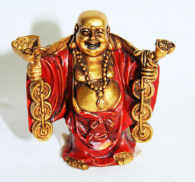 Buddha Red/Gold Laughing 5cm For Good Luck & Money-NEW