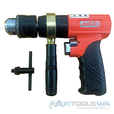 """1/2"""" Reversible Air Drill Akko 1/2 Inch 700 RPM 6.0 CFM Double Sets of Gears"""