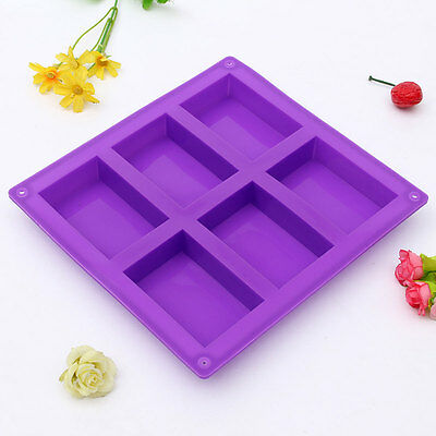 6-Cavity Rectangle Silicone Soap Mold DIY for Homemade Cake Chocolate Tray Mould