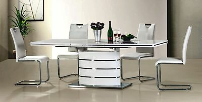 """""""FANO"""" 160 cm White High Gloss Modern Extendable Dining Table"""