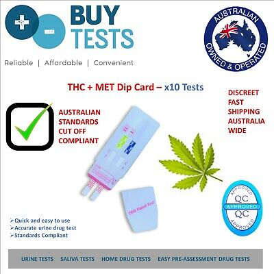 Urine Drug test kit (x10) for Marijuana/THC+Methamphetamine/MET, Home Test Kits