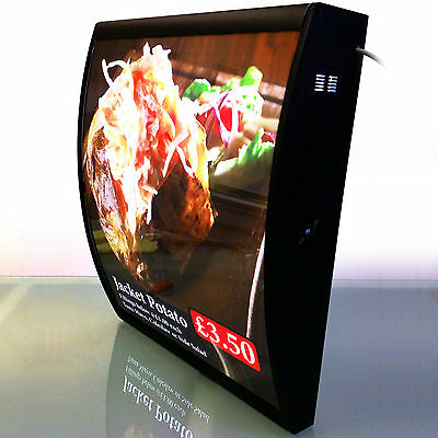 1 50x60cm LED Curved Menu Board of Restaurant Take Away Catering Fish Pizza Shop