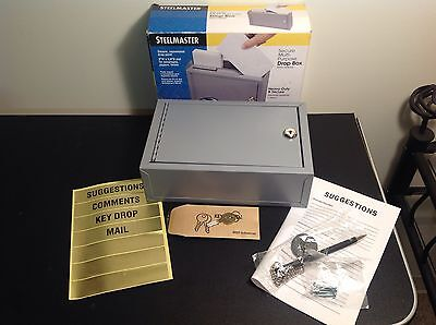 NIB Steelmaster Secure Multi Purpose Steel Drop Box 9.75 x 7 x 3  Gray 22258DBGY