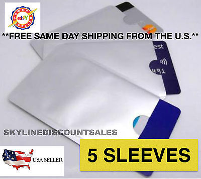 5x Secure Shield RFID Blocking Sleeve Protector for Payment/ID/Debit/Credit Card