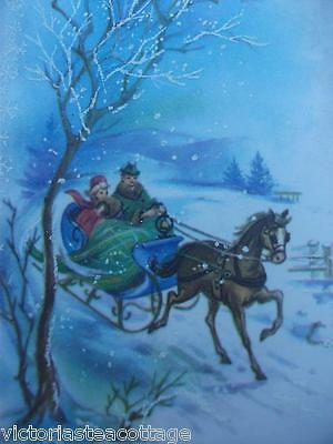 Vintage Greeting Card 'Christmas Greetings' Sleigh Snow Embossing Lady Man Horse