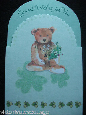 St. Patrick's Day Greeting Card 'Special Wishes For You' Teddy Bear Glitter Cute