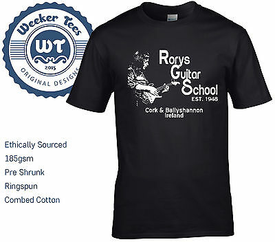 New Rory Gallagher Tribute T Shirt, Rorys Guitar School - size S - XXL Ireland