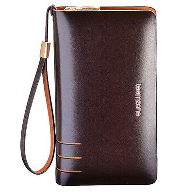 Real Leather Men Wrist Clutch Compact Portable Briefcase Wallet Checkbook