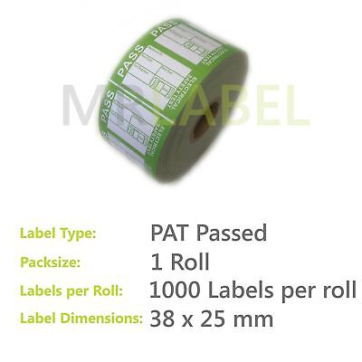 1000x PAT Test Labels PASSED Self Adhesive (1 Roll) Portable Appliance Testing