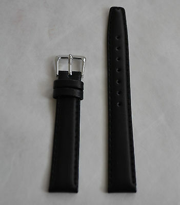16 mm Genuine leather band Black Color and Silver Tone Buckle Brand New