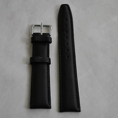 18 mm Genuine leather band Black Color and Silver Tone Buckle Brand New