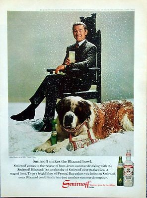 1969 Smirnoff Vodka Johnny Carson Tonight Show St Bernard Dog Snow Blizzard ad