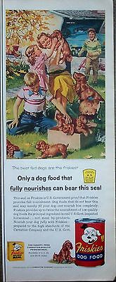 1955  Friskies Dog Food Family Playing Box Full Of Puppies Harry Anderson ad