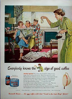 1950 Maxwell House Coffee Father Kids Reading Comic Newspaper Dog Cat Break ad