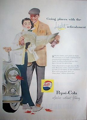 1957 Pepsi Cola Couple Leaning On Car Holding Map Leaves Falling ad