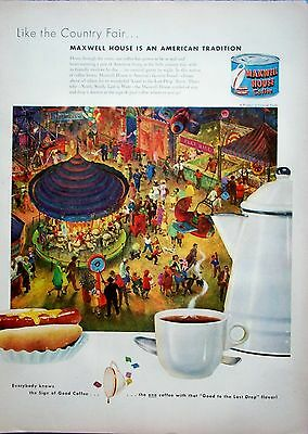 1951 Maxwell House Coffee Country Fair Carousel Merry Go Round Airplane Ride ad