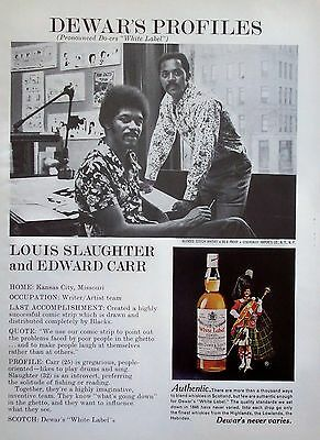 1975 Dewars White Label Whisky Louis Slaughter Edward Carr Writer Artist Team ad