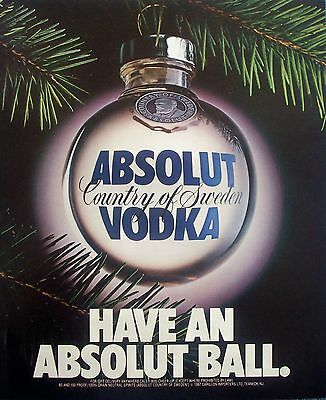 1987 Absolut Vodka Clear Christmas Ball Ornament Pine Branch Have A Ball ad