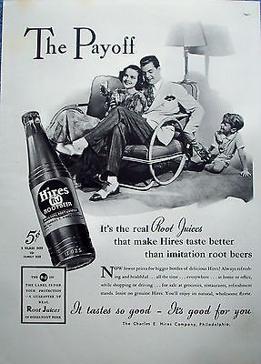 1937 Hires Root Beer Little Boy Getting Handed Bottle Sisters Date Payoff ad