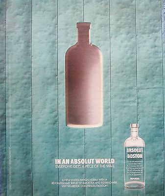 2009 Absolut Vodka Aqua Blue Wall In An Absolut World Get Piece Of Wall ad