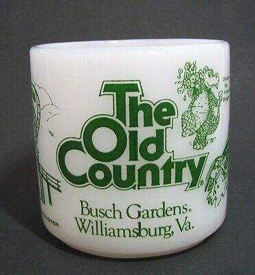 Busch Gardens Williamsburg Vintage Coffee Cup Old Country Federal Milk Glass