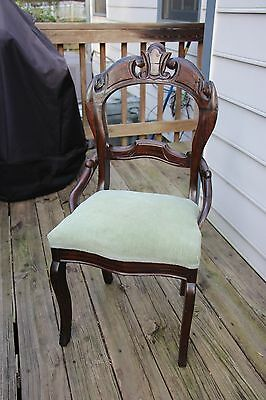 Fine Walnut Victorian Renaissance Revival Side Chair with Faux Rosewood Finish