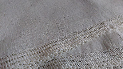 2 Vintage Matching Tablecloths/Toppers Early Nubby Linen Lace Trim Handmade