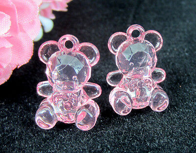 50 Mini Pink Bears for Baby Shower Favors Girl's For Party Decor Acrylic Bears