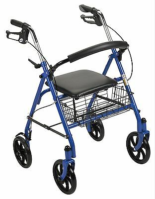 Four Wheel Rollator Walker with Fold Up Removable Back Support Lightweight RED
