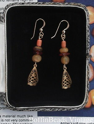 Antique filigree + AMBER & CORAL EARRINGS old Baltic Mediterranean ethnic 14K GF